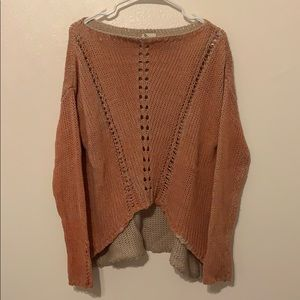 Sweaters - Sweater, cream with an orange/coral color, hi-low